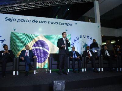 Parlamentares, prefeitos, presidentes estaduais e municipais, além de filiados de todo o país ocuparam todo o espaço dedicado à cerimônia de inauguração